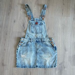 Dickies Acid Wash Denim Distressed Overall Dress